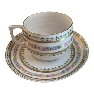 Antique Carlsbad Austrian Porcelain Teacup and Saucer - a Pair For Sale