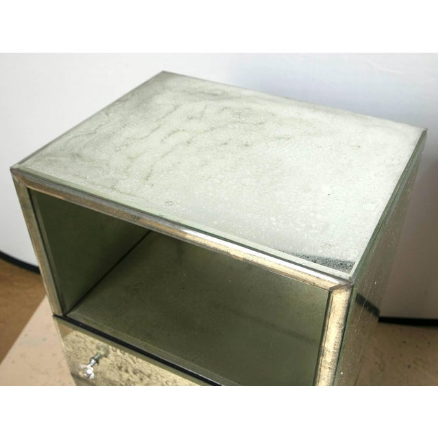 Petite Antiqued Mirrored Nightstands - A Pair - Image 3 of 7