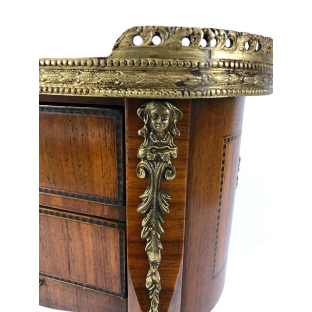 Gold Exquisite Italian Kidney Shaped Inlay Mahogany Nightstand or End Table For Sale - Image 8 of 13