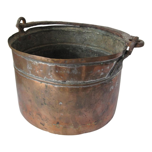 Antique Handmade Copper Pot With Iron Handle For Sale