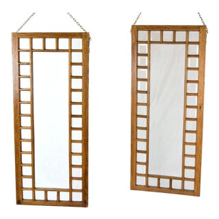 Antique Oak Framed Beveled Glass Windows Hanging Room Dividers - a Pair For Sale