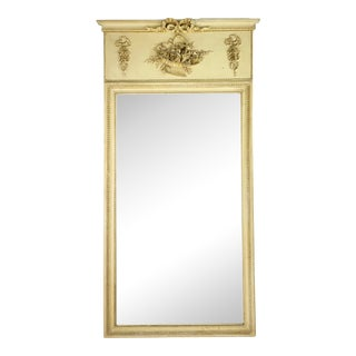 Mid 19th Century French Louis XVI Style Painted Trumeau Mirror For Sale