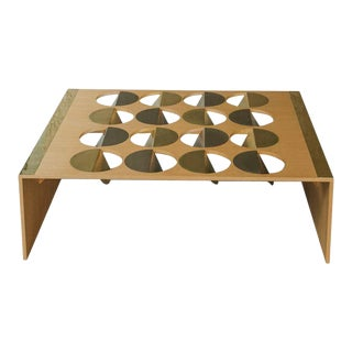 Modern Wood and Brass Stainless Steel Coffee Table For Sale