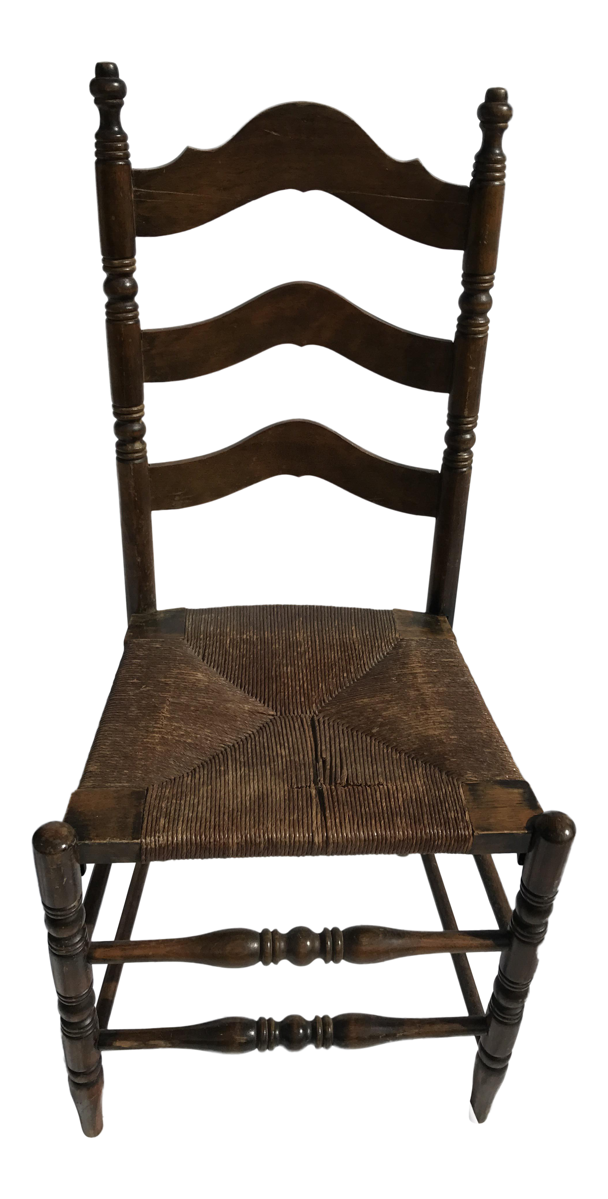 Antique Ladder Back Rush Seat Chair