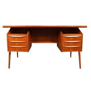 1960s Danish Modern Teak Tanker Desk For Sale