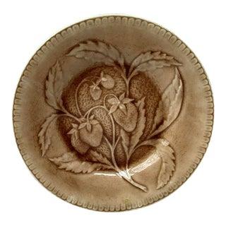 1880s Antique Longchamp Green Majolica Strawberries Plate For Sale