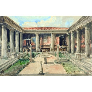 Villa of Pompeii Watercolor Painting For Sale
