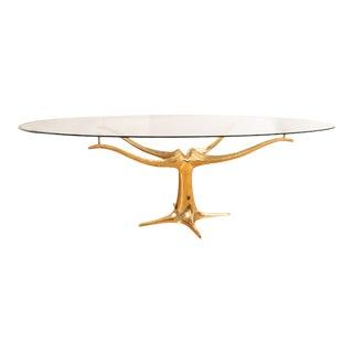 Brass Pedestal Base Dining Table For Sale