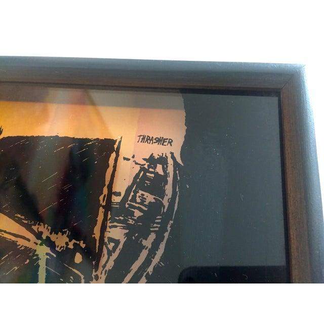"1974 Vintage Modernist Virgil Thrasher ""Lucid Lines"" Painted Glass 3d Shadow Box Art - 3 Piece Set For Sale - Image 9 of 11"