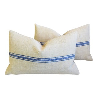 """French Blue Striped Grain Sack Textile Feather/Down Pillows 27"""" X 16"""" - Pair For Sale"""