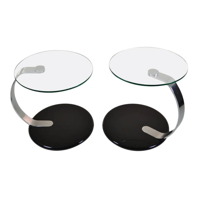 Pair of Modernist Chrome and Glass Tables For Sale