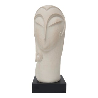 1970s Art Deco White Plaster Sculpture For Sale