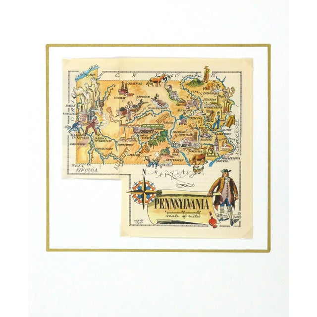 American Vintage Pennsylvania Pictorial Map 1946 For Sale - Image 3 of 3