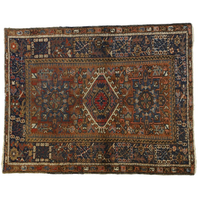 Industrial Antique Persian Karaja Heriz Rug With Mid-Century Modern Style, 3'6x4'6 For Sale - Image 3 of 9