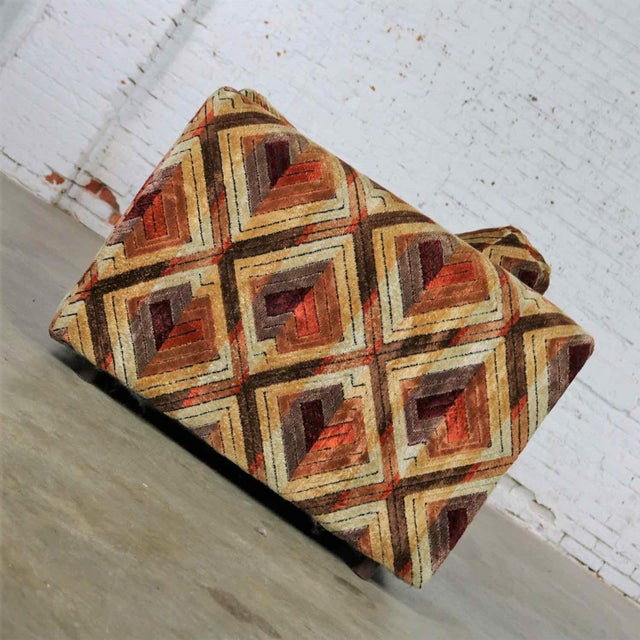 Tuxedo Mod Loveseat Sofa in Jack Lenor Larsen Style Fabric For Sale - Image 6 of 13