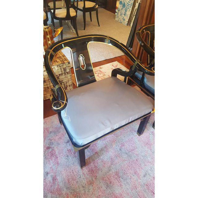 Asian James Mont Horseshoe Chairs - A Pair For Sale - Image 3 of 6