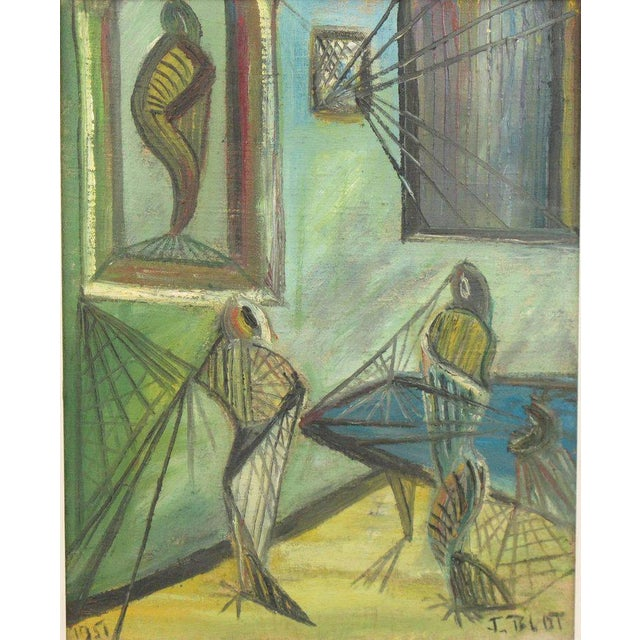 1950s J. Blot France Modernist Interior With Spider Web Acrylic on Canvas Painting For Sale - Image 5 of 11
