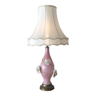 Vintage Mid-Century Murano Rose Glass Table Lamp For Sale