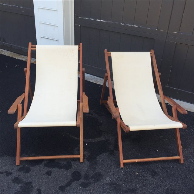 Modern Wood Slingback Canvas Chairs - A Pair For Sale - Image 3 of 11
