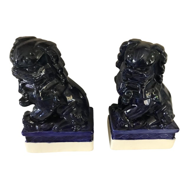 20th Century Traditional Dark Blue Foo Dogs - a Pair For Sale
