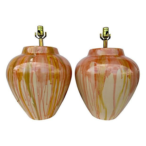 Large Drip Glaze Ceramic Lamps - Pair - Image 1 of 4