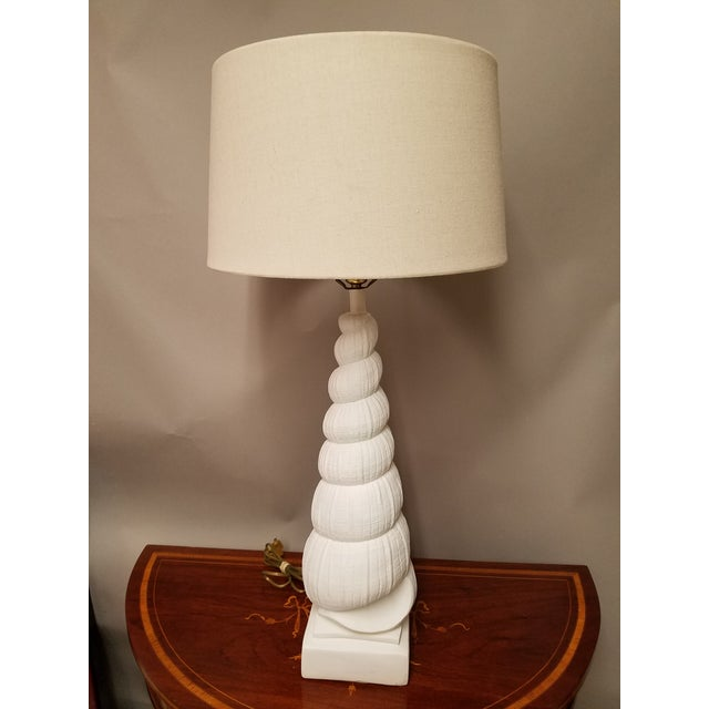 1960s Sirmos Mid-Century Coastal Chic Plaster Auger Shell Table Lamp For Sale - Image 5 of 6