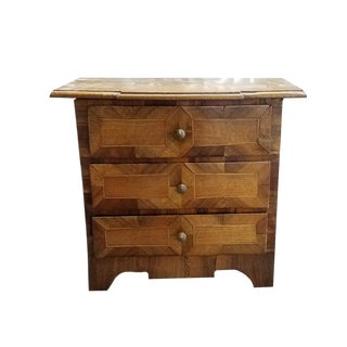 18th Century Vintage German Miniature Baroque Three Drawer Chest For Sale