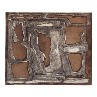 Gwen Stone Organic Bauhaus Modernist Abstract Etching in Black & Brown, 20th Century 20th Century For Sale