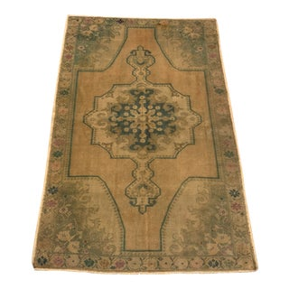 Oushak Vintage Wool Turkish Anatolian Rug- 4′7″ × 7′2″ For Sale