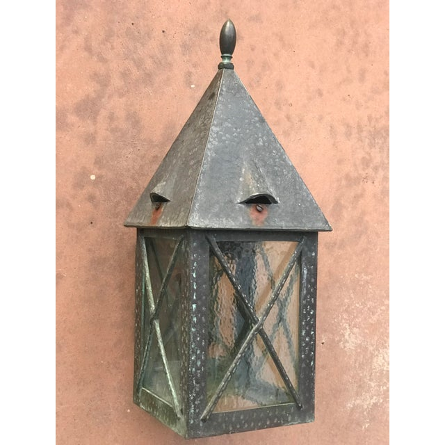 Vintage Tudor Style Bronze Outdoor Wall Sconce For Sale - Image 4 of 6