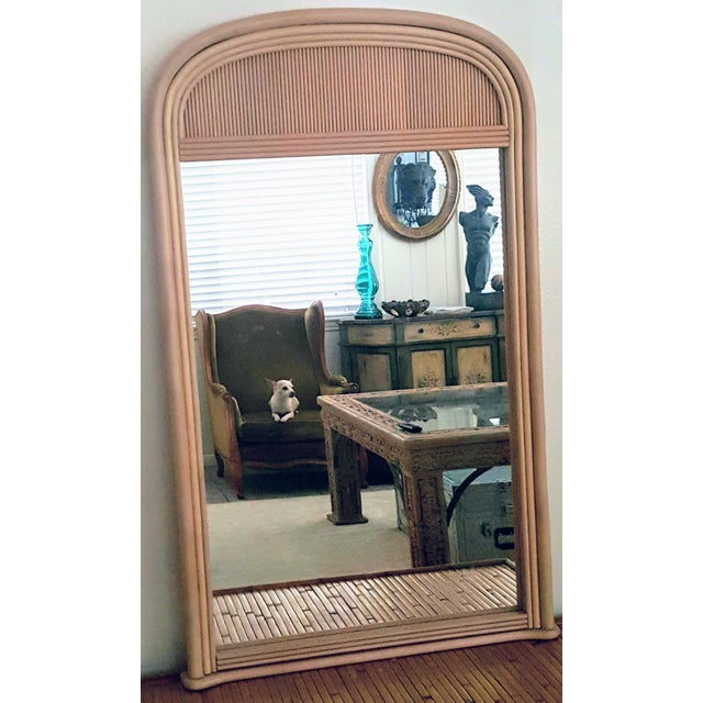 Gabriella Crespi Style Rattan Framed Arch Shaped Wall Mirror For Sale In Palm Springs - Image 6 of 8