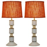 Image of Albarelli 1960s Tall Matte White and Gold Murano Glass Lamps - a Pair For Sale