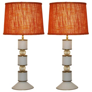 Albarelli 1960s Tall Matte White and Gold Murano Glass Lamps - a Pair For Sale
