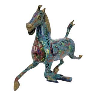 Chinese Cloisonne Enamel Gilt Success Horse Statue For Sale