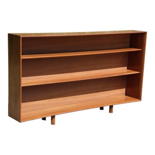 Vintage Large Mid Century Modern Solid Cherry Bookcase Open Shelving Bookshelf For Sale