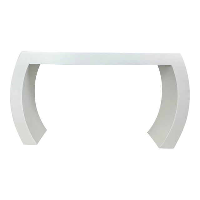 The Lucy Curved Smooth Plaster Modern Waterfall Console For Sale