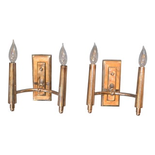 Farlane Double Sconces in Polished Silver by Thomas O' Brien - Pair For Sale