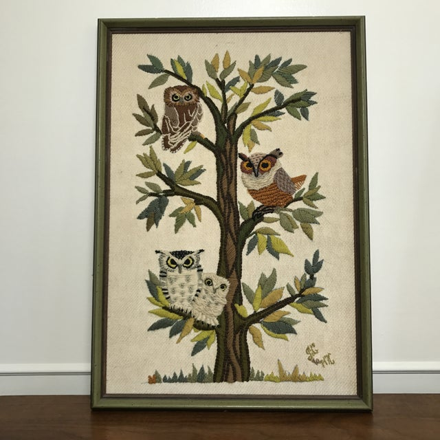 Mid-Century Embroidered Owl Artwork - Image 2 of 8
