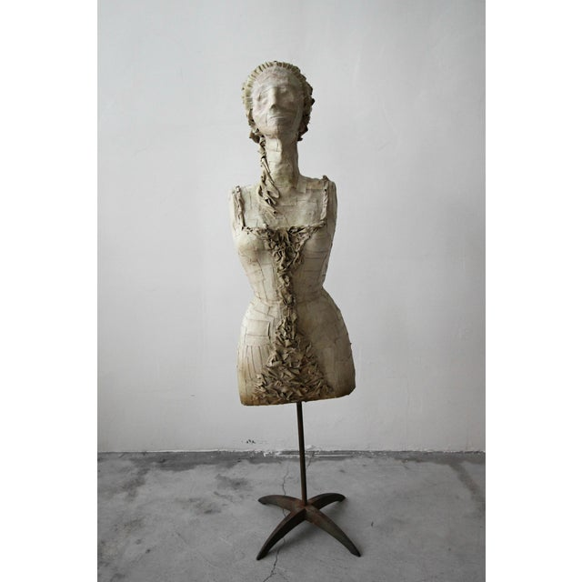 Antique 1920's French Female Art Dress Form Mannequin on Steel Stand For Sale - Image 9 of 9