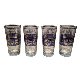 Moroccan Blue & Gold Glasses - Set of 4 For Sale