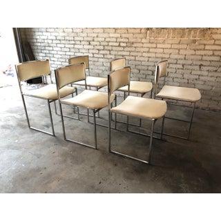 1970s Vintage Milo Baughman Velvet & Chrome Dining Chairs - Set of 6 Preview