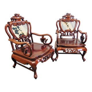 Chinese Carved Rosewood & Marble Chairs - a Pair For Sale