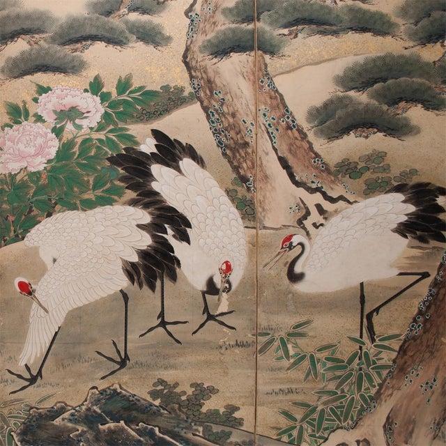 Tan Edo Era Monumental Japanese Six-Panel Byobu Screen For Sale - Image 8 of 13