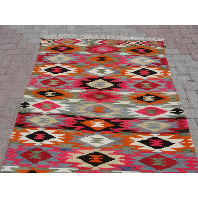 Vintage Turkish Kilim Rug - 4′4″ × 6′10″ For Sale - Image 7 of 11