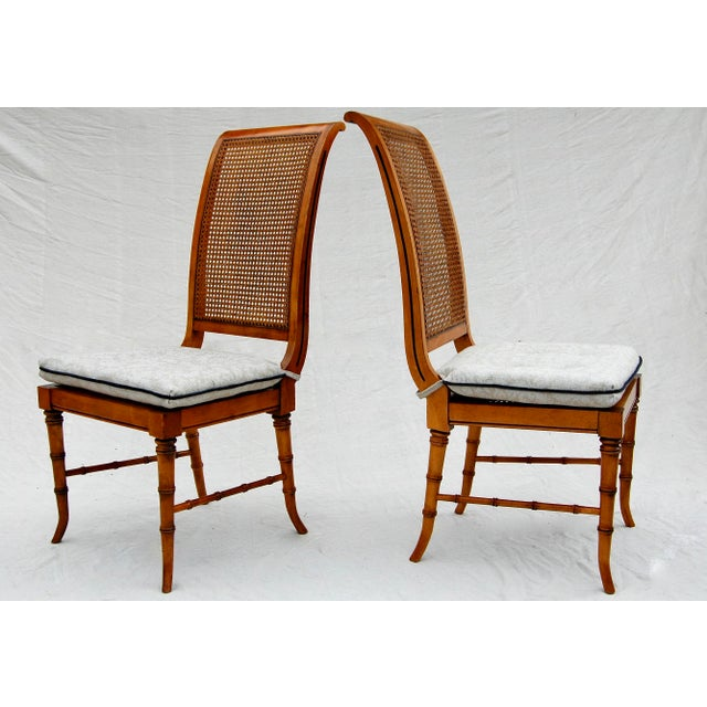 Asian Faux Bamboo Caned Chairs, Pair For Sale - Image 3 of 6