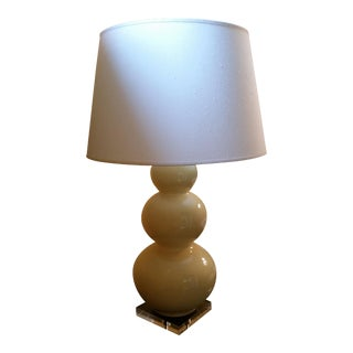 Large Triple-Gourd Yellow Ceramic Table Lamp For Sale