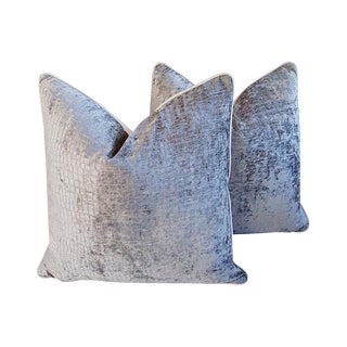 "24"" Custom Tailored Platinum Silver Crocodile Velvet & Linen Feather/Down Pillows - Pair"