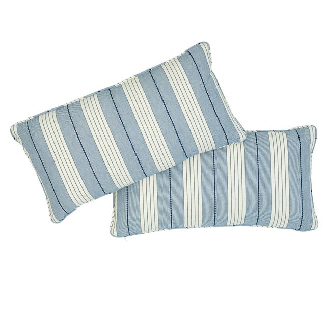 "This 12"" x 24"" pillow features Audrey Stripe in Navy. Charming and casual, this stripe is full of sweet details that are..."