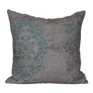 Turkish Turquoise Rug Print Pillow Cover For Sale