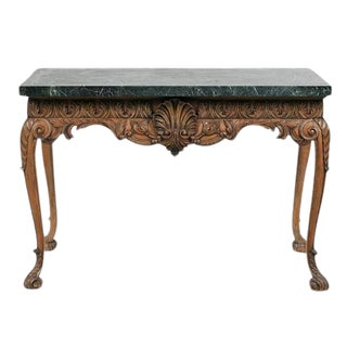 1780 English Traditional Lime Wood Console With Marble Top For Sale
